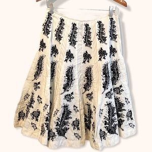 Calvin Klein A line beaded embroidered mid skirt